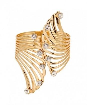 Q&Q Fashion Gold Big Cut Out Guardian Angel Fairy Wing Crystal Hinged Bracelet Bangle Cuff - CN126JQ8J4J