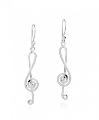 Melody Musical Treble Clef Notes .925 Sterling Silver Dangle Earrings - CQ12HOS8DIN