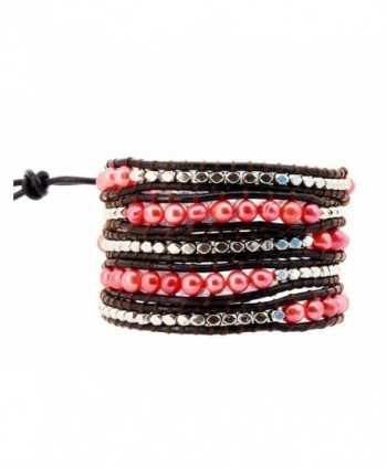 Womens Long Beaded Dyed Freshwater Cultured Pearl Wrap Around Leather Bracelet - CK126OFJ6BZ