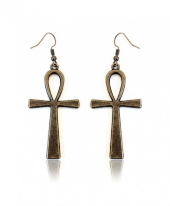 Antiqued Golden Egyptian Ankh Drop Earrings - CN12K7RUTDF