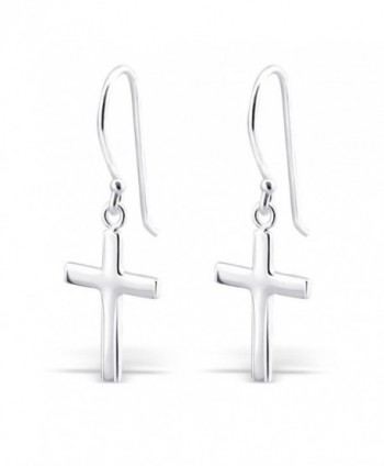 Sterling Silver Cross Silver Earrings- Dangle Earrings Sterling Silver 925 (E2881) - C111MO9QLTB