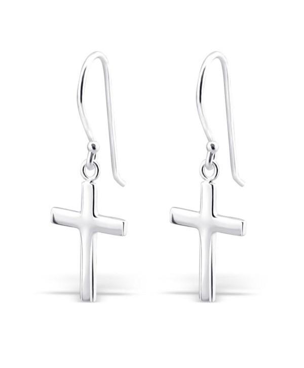 Sterling Silver Cross Silver Earrings- Dangle Earrings Sterling Silver 925 (E2881) - C111MO9QLTB