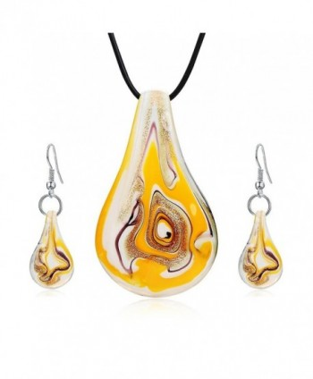 Jardme Jewelry Sets Screw-Type Murano Inspiration Mix Twisted Lampwork Glass necklace - Yellow - CB189UCATIE