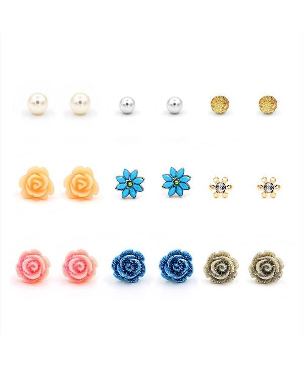 Hanloud Assorted Earrings Multiple Crystal - Rose Ball Pearl multi Earrings - CT18C9HMAI4