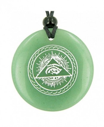 All Seeing Third Eye Amulet Green Quartz Pendant Necklace - CL114RNSKI7