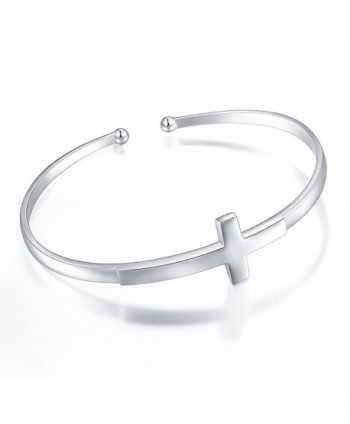 S925 Sterling Silver Engraved Faith Hope Love Inspirational Cuff Cross Bangle For Women - CC186DI6DNX