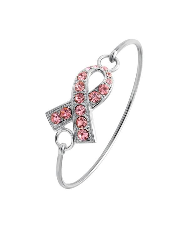 SENFAI Pink Ribbon Breast Cancer Support Survivor Bracelet Engraved Gift Jewelry For Cancer Survivor or Patient - CN12DAF8GKD
