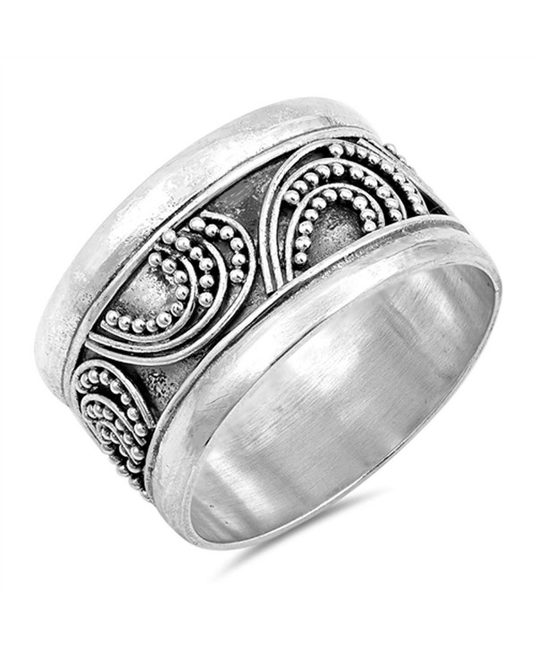 Bali Bar Bead Ball Unique Ring New .925 Sterling Silver Wide Band Sizes 6-10 - CE12JBXH5GP
