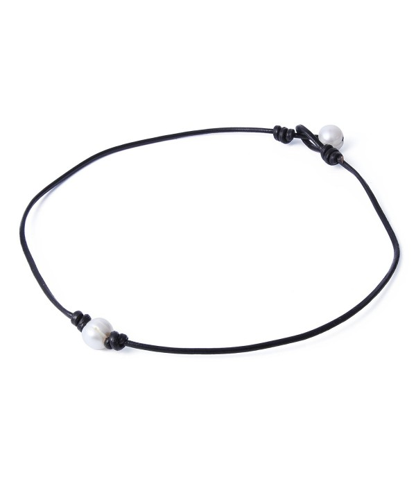 "Bonnie Handmade Single White Freshwater Pearl Choker Necklace Bead on Leather 14-19.7"" - CR12N6EZR9O"