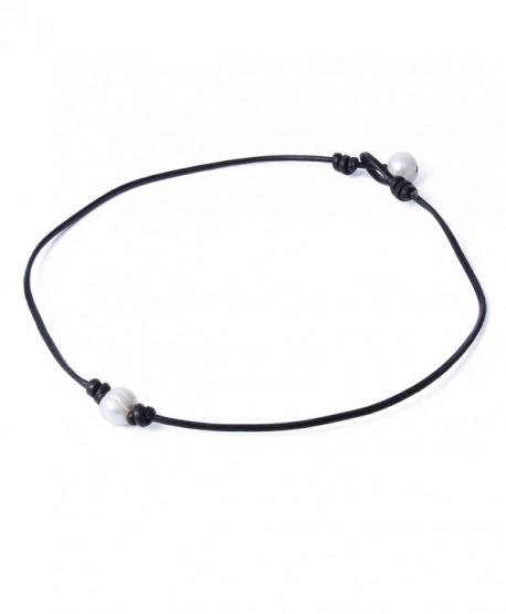 "Bonnie Handmade Single White Freshwater Pearl Choker Necklace Bead on Leather 14-19.7"" - CR12N6EZR9O"