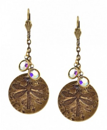 Anne Koplik Dragonfly Disk Earrings- Antique Gold Plated ER4667CAB - CF12D8QTMIP