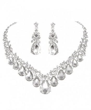 Youfir Rhinestone V shaped Teardrop Necklace - Clear - CF180A2KH5R