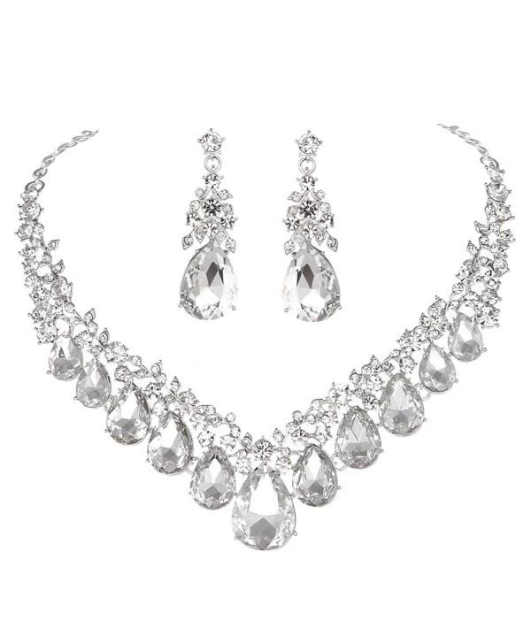 45a6273ec9915c Youfir Rhinestone V shaped Teardrop Necklace - Clear - CF180A2KH5R