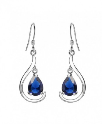 EVER FAITH Women's 925 Sterling Silver Prong CZ Simple Teardrop Daily Hook Dangle Earrings - Blue - CA17YGT8K4Q