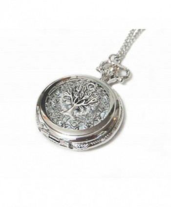Tree of Life Ornate Silver Pocket Watch Necklace Chain Pendant - Giving Tree Pocketwatch Charm - CO126W0LL1F