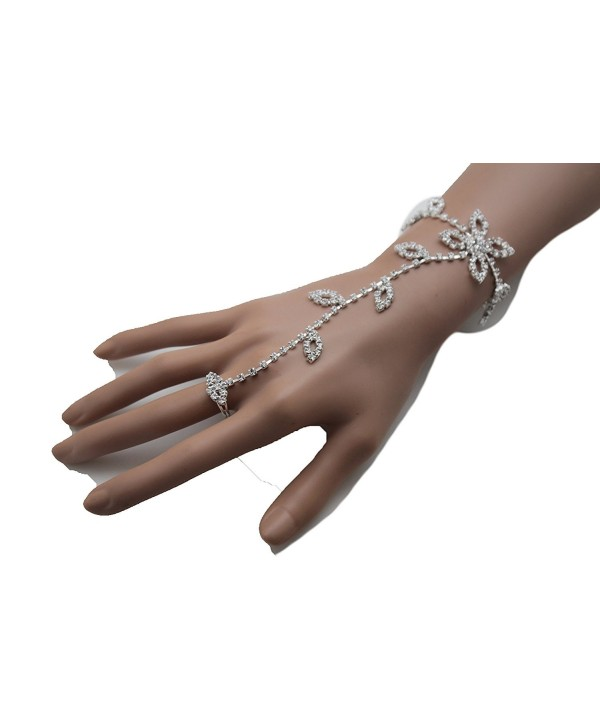 TFJ Women Fashion Jewelry Hand Chain Wrist Bracelet Flower Slave Ring Floral Brown Beads Antique Gold - C212C6G6RP9