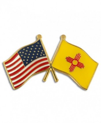 PinMart's New Mexico and USA Crossed Friendship Flag Enamel Lapel Pin - CK11L2LTPNV