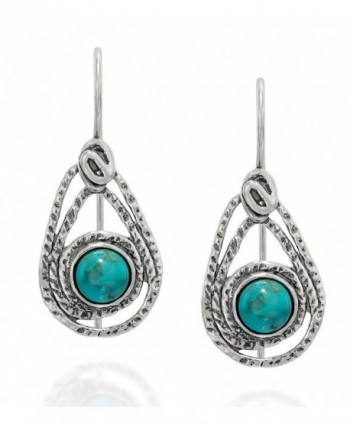 Teardrop Sterling Earrings Turquoise Jewelry - Turquoise - C1187IQGGDX