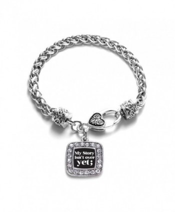 My Story Isn't Over Yet Semicolon Movement Classic Braided Classic Silver Plated Square Crystal Charm Bracelet - CV11XMTW9BL