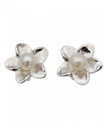 NOVICA Cultured Freshwater Pearl and .925 Sterling Silver Flower Button Earrings- 'White Jasmine' - CF11G3W5AMD
