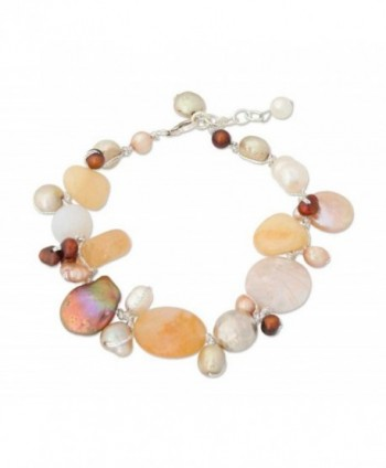 NOVICA Multi-Gem Quartz Cultured Freshwater Pearl .925 Sterling Silver Beaded Bracelet 'Lemon Honey' - CV11BFD59O5
