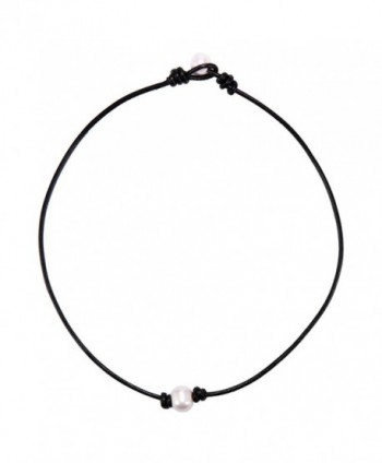 "BODYA white Single Faux Pearl Necklace Choker pearl ends black Leather Cord Women Jewelry 17"" Handmade - C312O9ANNI0"