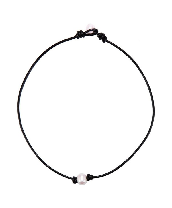 733944d7b8d37 white Single Faux Pearl Necklace Choker pearl ends black Leather Cord Women  Jewelry 17