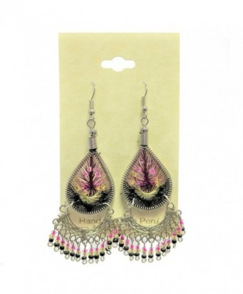 "Peruvian Earrings - Dream Catchers Tear Drop Dangle Large Hand Crafted 2"" x 1"" - BlackGoldPink - C812O8M7229"