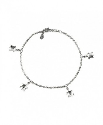 Finejewelers 10 Inches 5 Turtles Ankle Bracelet Sterling Silver - CR11962FXVB