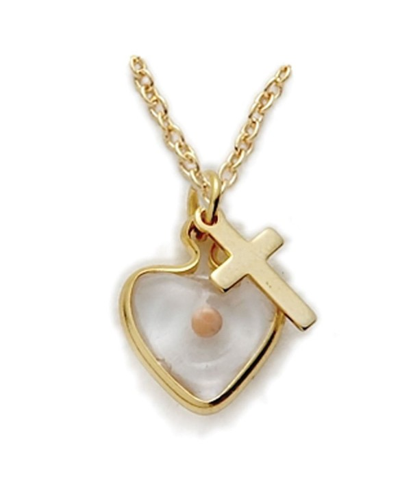 "14K Gold Filled Mustard Seed Heart Necklace with Cross Charm on 18"" Chain - CJ113FB4ULX"