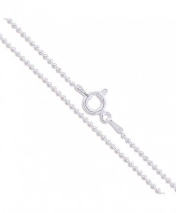 Sterling Silver Italian Ball Bead Chain 1mm 1.2mm 1.5mm 1.8mm 2.2mm 925 Italy New Dog Tag Necklace - C011EYZRIAD