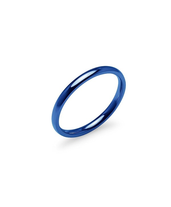 Blue IP Tone High Polish 2mm Plain Comfort Fit Wedding Band Ring Stainless Steel Many Sizes Available - CC17Z2CZSSS