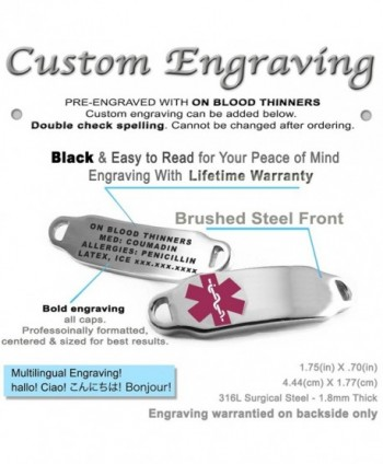 MyIDDr Pre Engraved Customizable Thinners Bracelet