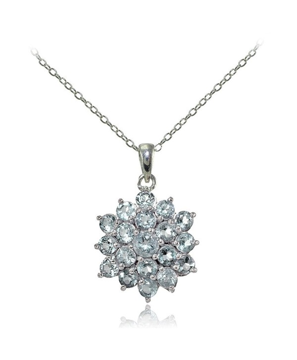 Sterling Silver Genuine Aquamarine Flower Necklace - CN17WWZ2944