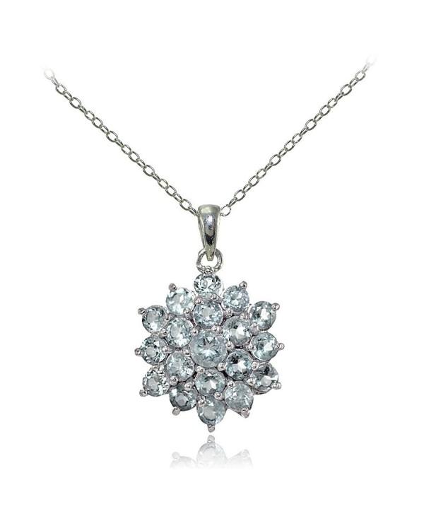 Sterling Silver Genuine Aquamarine Flower Necklace - CN17WWZ2944