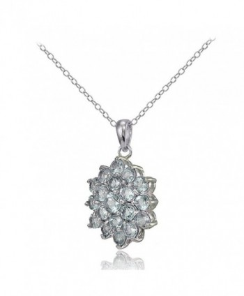 Sterling Silver Genuine Aquamarine Necklace