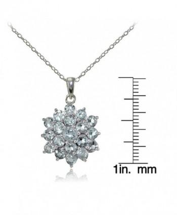Sterling Silver Genuine Aquamarine Necklace in Women's Pendants