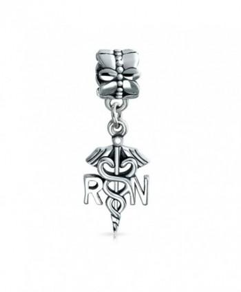 Bling Jewelry Nurse Caduceus Dangle Bead Charm .925 Sterling Silver - CV11G6CID8J