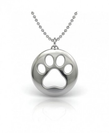 The Best Pet Lover Gift- .925 Sterling Silver 18 inch Necklace with a Dog Cat Paw Symbol Pendant - CS12G7FMJD9