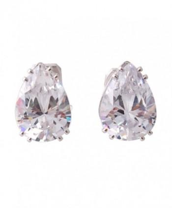 Grace Jun New Fashion Big Water Drop Shape AAA CZ Clip on Earrings Non Piercing for Women Ear Clip - Platinum - CB185EZW2YM