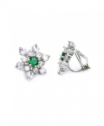 Sparkly Bride Snowflake CZ Clip On Earrings Winter Holiday Rhodium Plated Women Fashion - Green - C412869D0HX