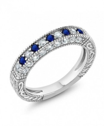 1.00 Ct Blue and White Created Sapphire 925 Sterling Silver Wedding Band Ring (Available in size 5- 6- 7- 8- 9) - CS128EAG09D