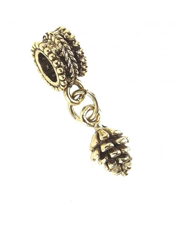 Antique Gold Plated Pewter Mini Pinecone Dangle Charm Interchangeable Slider Bead for Snake Chain Bracelets - C511I3A7DUZ