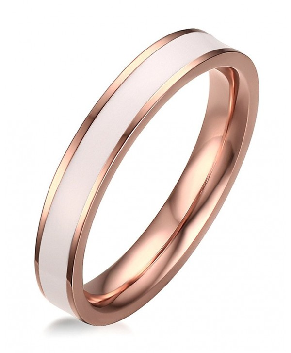 Stainless Steel White Enamel Plain Band Ring for Women-3.5mm IP Rose Gold-Size 5-8 - CH184C26RGO