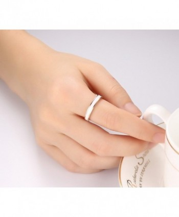 Stainless Steel White Enamel Plain in Women's Wedding & Engagement Rings