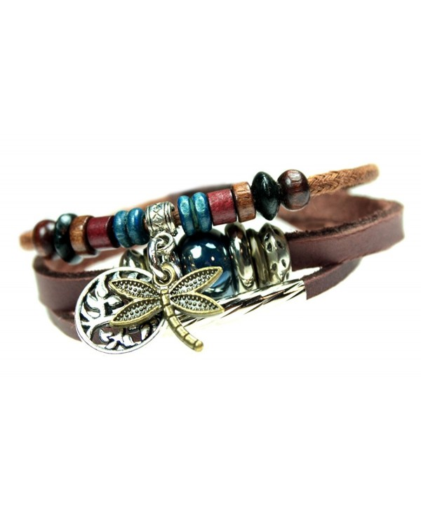 Dragonfly and Tree of Life Three Strand Beaded Leather Zen Bracelet in Gift Box - CQ126XN463V