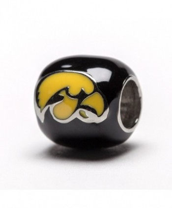 "Iowa Hawkeyes Black with Yellow Hawk and Block ""I"" Round Bead Charm - CA128YWXN97"
