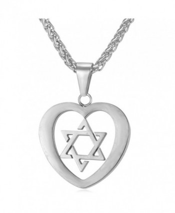 Star of David Heart Pendant Necklace Stainless Steel/18K Gold Plated Jewish Jewelry - CB12JMUMOH7