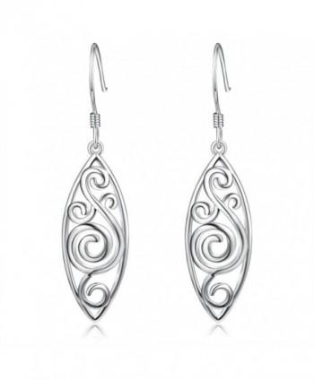 925 Sterling Silver Polished Filigree Drop Dangle Earrings - C1185OYLZHE