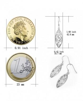 Sterling Silver Polished Filigree Earrings in Women's Drop & Dangle Earrings